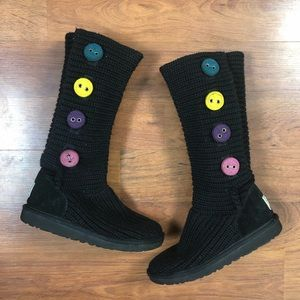 UGG  Cardy Knit Black Cable Knit Rainbow Boot 5.5